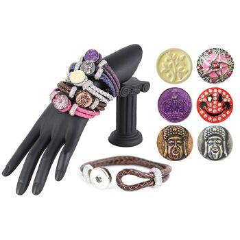 Armband Chunk Click Snap inkl. Button Armketten Armschmuck Farbmix Accessoires Schmuck Modeschmuck Strass Steine nur 1,99 Euro