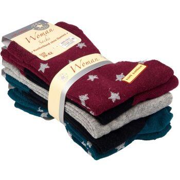 28-045721, Damen Socke 5er Pack, mit Stern, Komfortbund ohne Gummi, Socken, Strümpfe