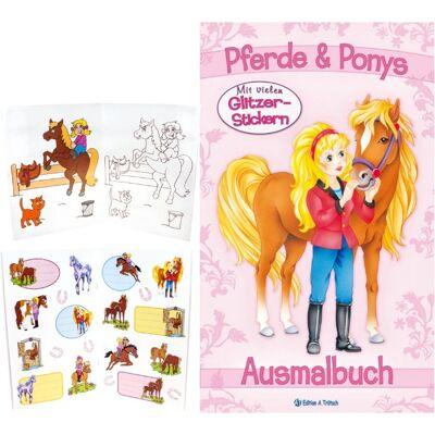28-483628, Malbuch Pferde und Ponys mit Stickern, Ausmalbuch mit farbigen Vorlagen - SONDERPOSTEN PAZ 2,95
