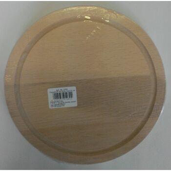 12-001230, Holz Schneidbrett Fleischbrett Buche  rund 20cm  mit Saftrille, Schneidebrett, Fleischbrettchen, Schinkenbrett