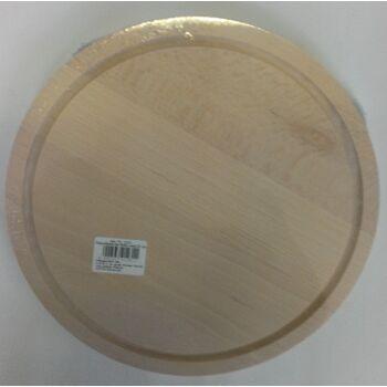 12-001231, Holz Schneidbrett Fleischbrett Buche rund 25 cm mit Saftrille, Schneidebrett, Fleischbrettchen, Schinkenbrett