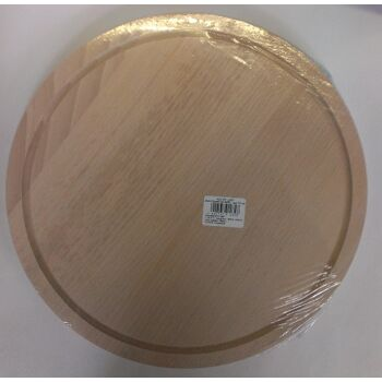 12-001232, Holz Schneidbrett Fleischbrett Buche rund 30 cm mit Saftrille, Schneidebrett, Fleischbrettchen, Schinkenbrett