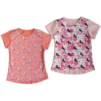 Kinder Mädchen Trend T-Shirt Pferd Einhorn Tunika Oberteil Kindershirts T-Shirts Shirt Kurzarm - 4,90 Euro