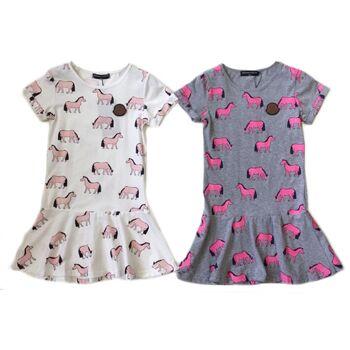 Kinder Mädchen Volant Kleid Pferd Longshirt 2-12 Jahre T-Shirt Sweatshirt Oberteil Kindershirt Kurzarm - 6,90 Euro