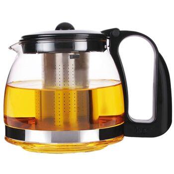 Glas Teekanne 1250 ml schwarz / silber Tee Kanne Teekocher
