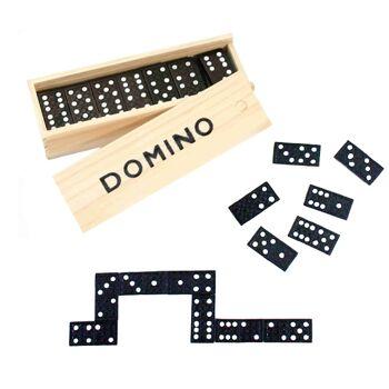 27-95009, Domino Spiel in Holzbox, Gesellschaftsspiel, Reisespiel