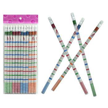 27-95041, Bleistift Rechenbleistift mit Radiergummi mit 1x1 Aufdruck, Einmal-Eins Bleistift