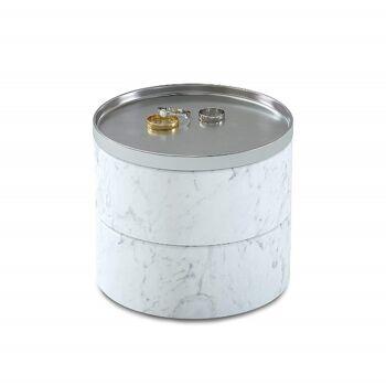 Umbra Tesora Schmuckbox 299470-491 weiß Kosmetikorganizer Ringetui Kettenetui Schmuckaufbewahrung, Schatulle rund