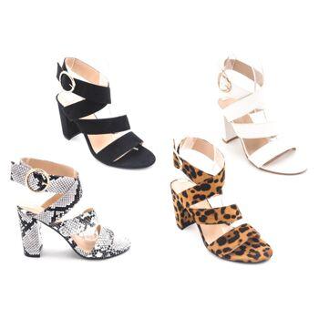 Damen Woman Sommer Trend Sandalette Sandale High Heels Leopard Snake Muster Schuh Shoes Sommer Business Freizeit - 14,90 Euro