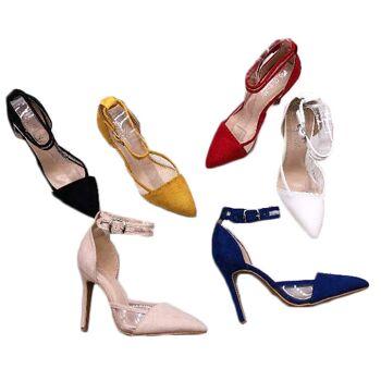 Damen Woman Sommer Trend Sandalette Sandale Spitz Knöchelriemchen High Heels Schuh Shoes Sommer Business Freizeit - 12,90 Euro