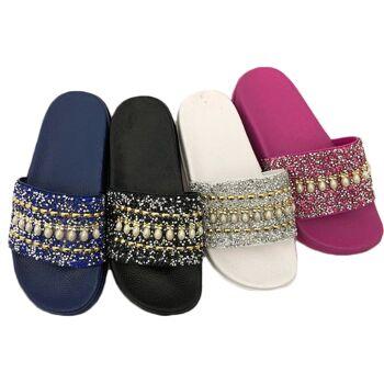 Damen Woman Sommer Trend Slipper Strandschuh Glitzer Perlen Badeschlappen Slip on Schuh Shoes Sommer Freizeit Mix