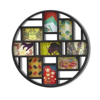 Umbra Luna Bilderrahmen 311120-040 Collage für 9 Fotos - Runde Fotowand für neun 10 x 15 cm Bilder Zeichnnug, Deko, Dekoration, Wandbild