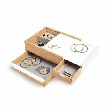 Umbra STOWIT Schmuckkasten 290245-668 in weiß / Holz Design Schmuckbox Etui Aufbewahrung Ring Ketten Box Organizer
