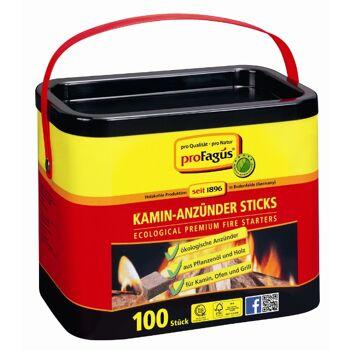 12-61000022, Kamin-Anzündsticks 100er Pack, Sommerhit ProFagus  Grillanzünder, für Grill Öfen Kamin