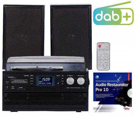 auvisio Plattenspieler MHX-640. bt DAB+ / FM-Radio, Lautsprecher Digitalisierer Schallplattenspieler CD-Spieler Kassettenspieler Radio Vinyl