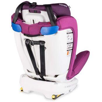 Kindersitz mit Isofix von Lionelo in violett Baby Autositz + Gratis Zubehör rutschfester Sicherheitsgurtbezug