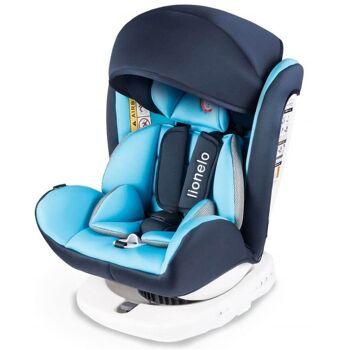 Lionelo Bastiaan Auto Kindersitz mit Isofix in blau Baby Autositz + Gratis Zubehör Sicherheitsgurt Babyschale Baldachin Sonneschutz Stoff