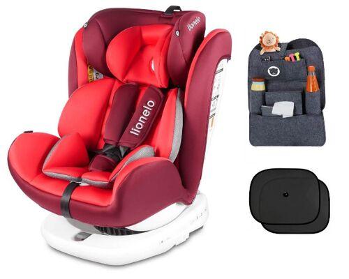 Lionelo Bastiaan Auto Kindersitz mit Isofix in rot Baby Autositz + Gratis Zubehör Baldachin Sicherheisgurtbezug