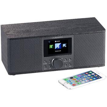 VR-Radio IRS-670 DAB+ Internetradio Schwarz Stereo, FM, Bluetooth & Wecker, 32 Watt Box Streamingradio Streaming Radio Internet Bildschirm
