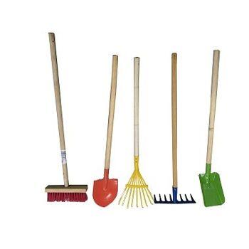 12-613400232, Metall Gartengeräte, Sandspielzeug für Kinder mit Holzstiel