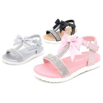 Kinder Baby Mädchen Sandale Sandalette Schleife Glitzer Größen 19-36 Slipper Schuh nur 9,90 Euro