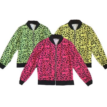 Kinder Mädchen Trend Neon Strickjacke Leopard Look Sommer Jacke Zip Zipper Pullover Sweatshirt Longsleeve Sweater Pulli Langarm - 9,90 Euro