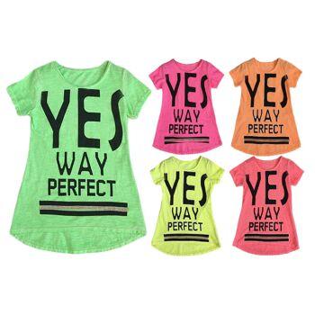 Kinder Mädchen Trend Neon T-Shirt 4-14 Jahre Print Shirt Longsleeve Shirts Kurzarm Kindershirts Oberteil - 7,90 Euro