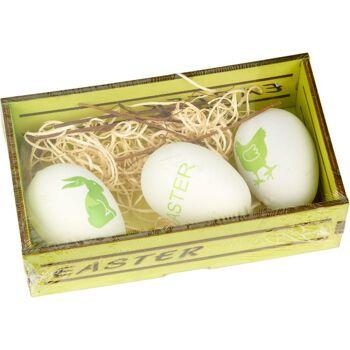 28-566725, Dekoset Ostern mit 3 Eiern in Holkiste