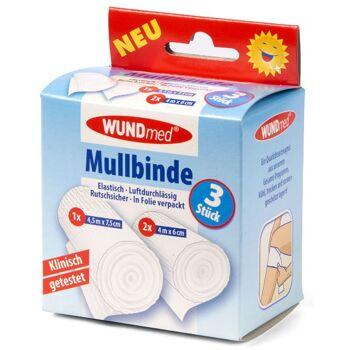 28-626725, Mullbinde 3er Pack, elastisch, luftdurchlässig, rutschsicher, Mullbinden