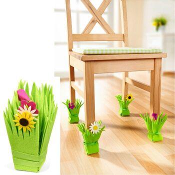 28-635186, Stuhlsocken oder Tischsocken, Frühlingswiese 4er Set