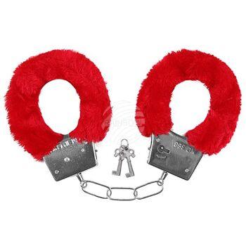 HP-01 Handschellen mit Plüsch rot