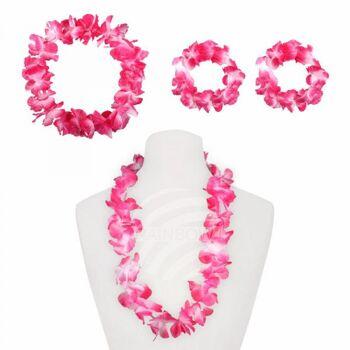 HS-09 Hawaii-Set Hawaiikette Halskette Armband Stirnband pink rosa weiß ca. 10 cm