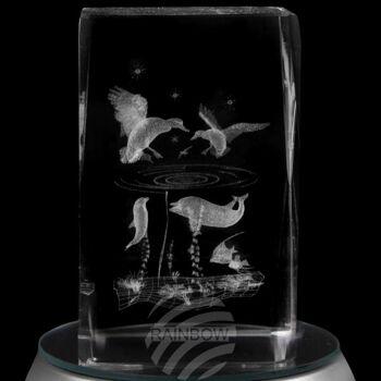 KQ-085 Kristall Quader Motiv: Kolibris, Wale Farbe: klar