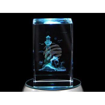 KQ-125 Kristall Quader Motiv: Leuchtturm, Palme Farbe: klar