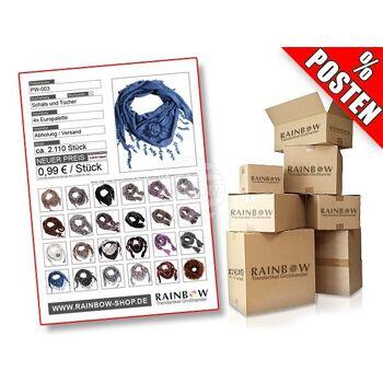PW-003 Posten mit ca. 2110 Schals & Tüchern in verschiedenen Designs.