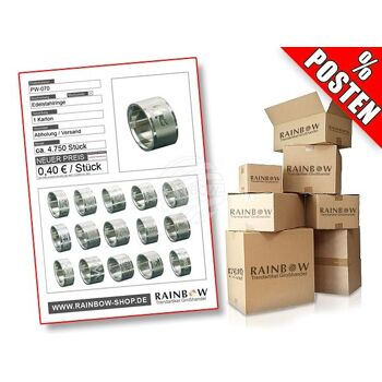 PW-070 Posten mit ca. 4750 Stück Edelstahlringen verschiedener Modelle mit gelasertem Relief-motiv.
