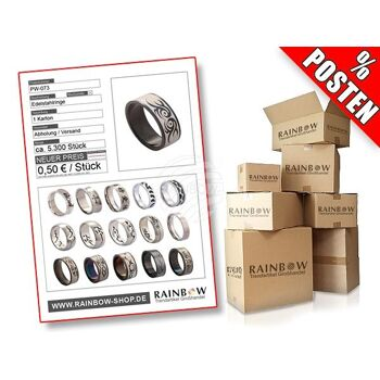 PW-073 Posten mit ca. 5300 Stück Edelstahlringen verschiedener Modelle, teilweise in PVD Optik oder gestanzten Motiven.