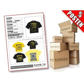 PW-078 Postenware Posten T-Shirts verschiedene Designs und Motive schwarz gelb