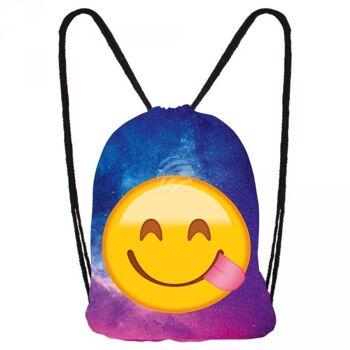 RU-x193b Gymbag, Gymsac Design: Emoticon, Emotikon happy Galaxie Farbe: lila, blau