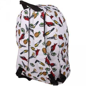RUCK-a037 Hochwertiger Rucksack Lebensmittel als Waffen weiss