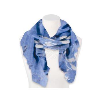 SCH-1198d Damen Schal Blumen blau