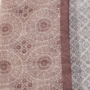 SCH-1516e Damen Loopschal Vintage Muster weiss braun grau