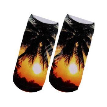 SO-103 Motiv Socken Design:Sonne und Palmen Farbe: schwarz