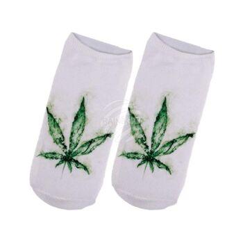 SO-38 Motiv Socken Design:Hanfblatt Farbe: grün