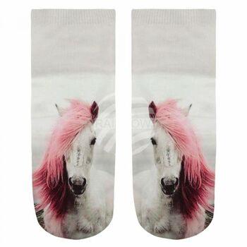 SO-L003 Motiv Socken Pferd weiss rosa