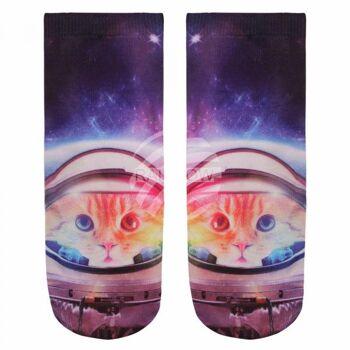 SO-L012 Motiv Socken Katze im Weltall schwarz multicolor