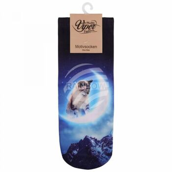 SO-L023 Motiv Socken Katze im Mond blau beige schwarz
