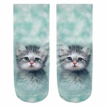 SO-L044 Motiv Socken Kätzchen mint grau