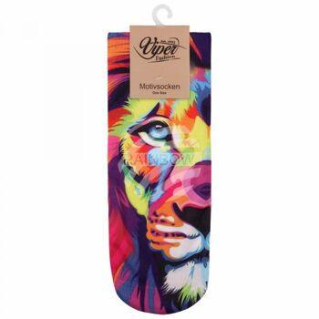 SO-L078 Motiv Socken Löwe multicolor