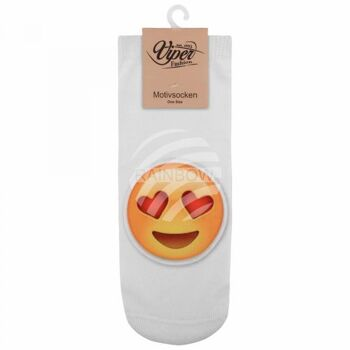 SO-L103 Motiv Socken Emoticon Emotikon verliebt weiss gelb rot
